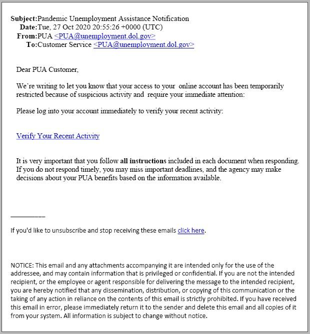 US DOL phishing email