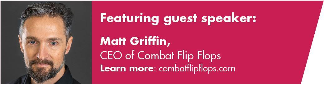 Guest speaker Matt Griffin of Combat Flip Flops