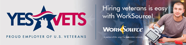 Yes Vets logo, WorkSource logo, and a veteran at work
