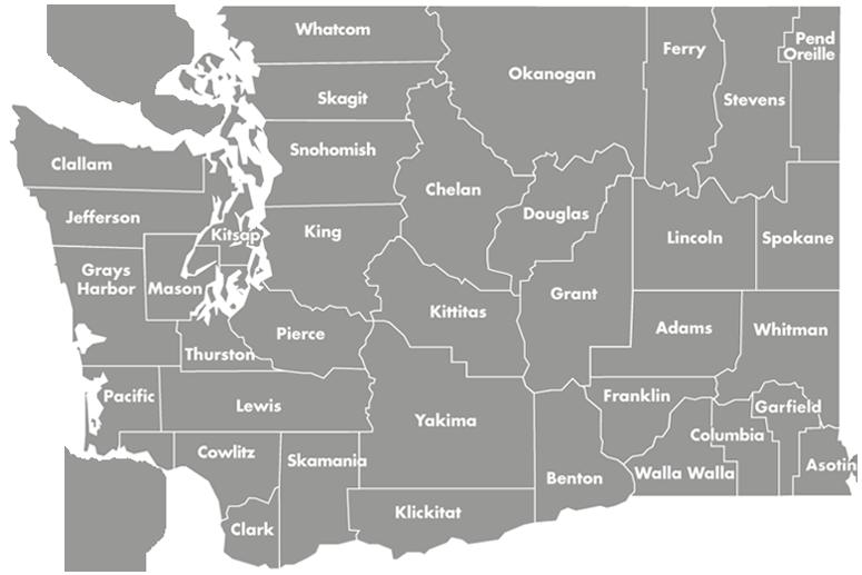 Map of Washington counties