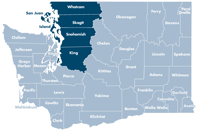 Washington state map with Island, King, San Juan, Skagit, Snohomish, and Whatcom counties highlighted