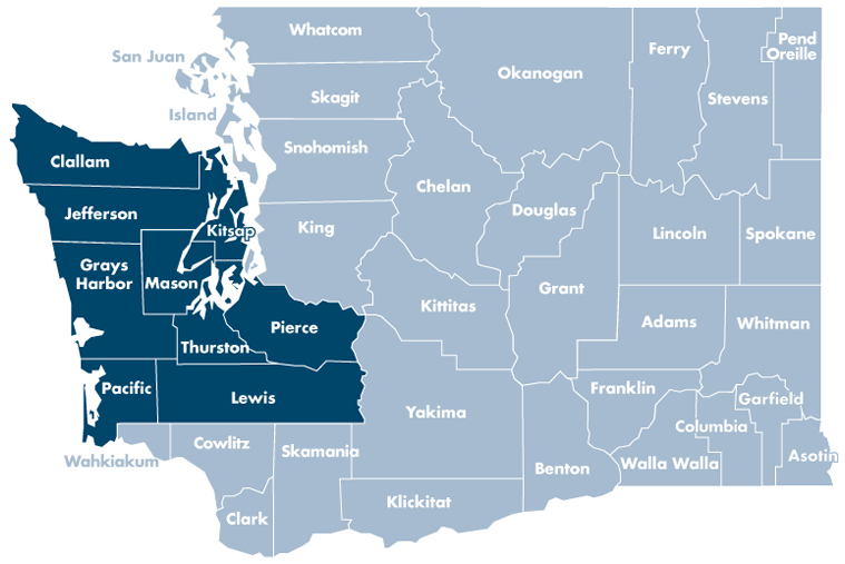 Washington state map with Clallam, Grays Harbor, Jefferson, Kitsap, Lewis, Mason, Pacific, Pierce, and Thurston counties highlighted