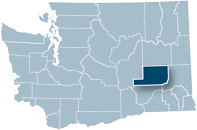 Washington state map with Adams county highlighted
