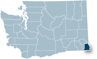 Washington state map with Asotin county highlighted