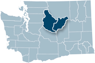 Washington state map with Chelan and Douglas counties highlighted