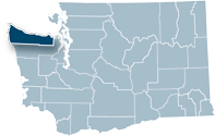 Washington state map with Clallam county highlighted