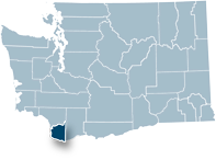 Washington state map with Clark county highlighted