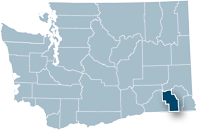 Washington state map with Columbia county highlighted