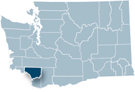 Washington state map with Cowlitz county highlighted