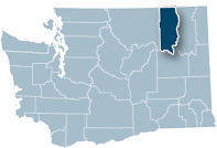 Washington state map with Ferry county highlighted