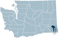 Washington state map with Garfield county highlighted