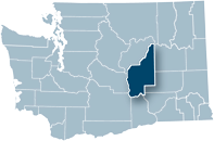 Washington state map with Grant county highlighted