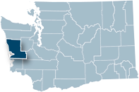 Washington state map with Grays Harbor county highlighted