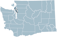 Washington state map with Island county highlighted