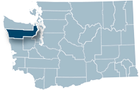 Washington state map with Jefferson county highlighted