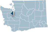 Washington state map with Kitsap county highlighted