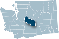 Washington state map with Kittitas county highlighted