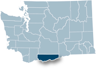 Washington state map with Klickitat county highlighted
