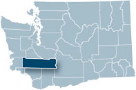 Washington state map with Lewis county highlighted