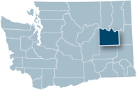 Washington state map with Lincoln county highlighted
