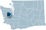 Washington state map with Mason county highlighted