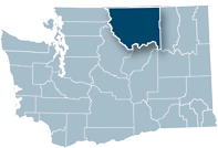 Washington state map with Okanogan county highlighted
