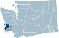 Washington state map with Pacific county highlighted