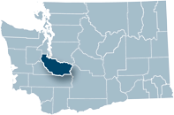Washington state map with Pierce county highlighted