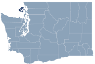 Washington state map with San Juan county highlighted