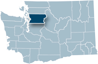 Washington state map with Snohomish county highlighted