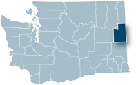 Washington state map with Spokane county highlighted