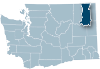 Washington state map with Stevens county highlighted