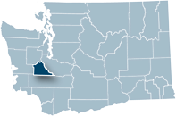 Washington state map with Thurston county highlighted