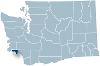 Washington state map with Wahkiakum county highlighted