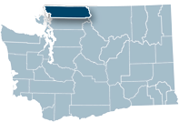 Washington state map with Whatcom county highlighted