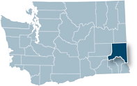 Washington state map with Whitman county highlighted